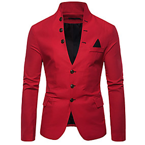 preiswerte This Summer You Are The Most Fashionable-Herrn Blazer, Solide V-Ausschnitt Polyester Rote / Marineblau / Khaki