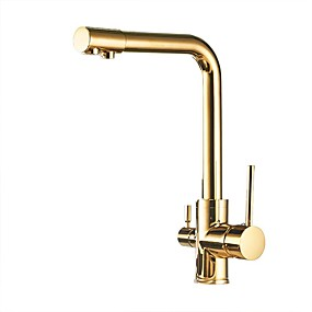 cheap Purified Water Faucets-Kitchen faucet - Two Handles One Hole Electroplated Standard Spout Vessel