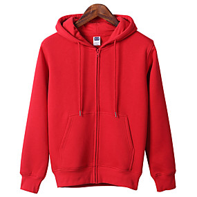cheap Camping, Hiking & Backpacking-Women's Hoodie Autumn / Fall Winter Outdoor Solid Color Breathable Top Cotton Single Slider Outdoor Exercise Camping / Hiking / Caving White Black Red