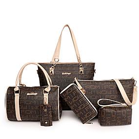 preiswerte Taschen-Damen Reißverschluss PU Bag Set Geometrische Muster 6 Stück Geldbörse Set Schwarz / Rote / Beige
