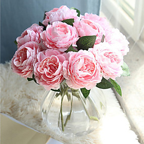 preiswerte Haus Dekor-Künstliche Blumen 10 Ast Klassisch Europäisch Simple Style Rosen Tisch-Blumen