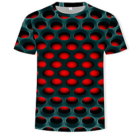 cheap Men's Tops-Men's Daily Plus Size T-shirt Graphic 3D Print Short Sleeve Tops Streetwear Exaggerated Round Neck White Purple Red / Summer