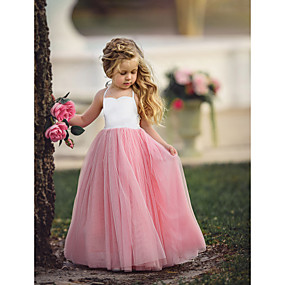 cheap Fashion Trends-Kids Girls' Flower Basic Party Dusty Rose Solid Colored Sleeveless Maxi Dress Purple