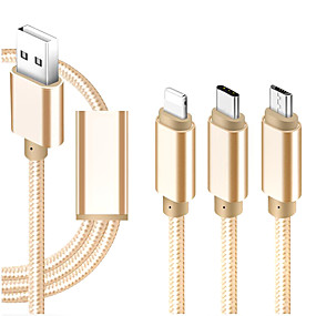 cheap Phone Cables & Chargers-Micro USB / Lightning / Type-C Cable 1m-1.99m / 3ft-6ft All-In-1 / Braided / 1 to 3 Textile USB Cable Adapter For iPad / Samsung / Huawei