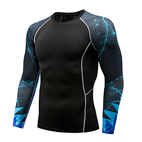 cheap Running & Jogging-Men's Compression Shirt Long Sleeve Compression Base Layer T Shirt Top Plus Size Lightweight Breathable Quick Dry Soft Sweat-wicking Dark Grey Navy Red+Blue Nylon Winter Road Bike Fitness Mountain