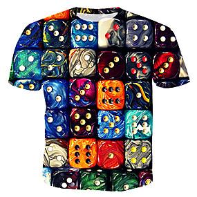 cheap Athleisure Wear-Men's T shirt Graphic Geometric Print Tops Rainbow