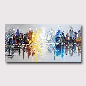preiswerte Wand- & Ölbilder-Hang-Ölgemälde Handgemalte - Abstrakt Zeitgenössisch Modern Fügen Innenrahmen / Gestreckte Leinwand