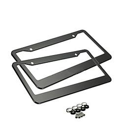 povoljno Ukrasna prednja rešetka automobila-okvir za crne registarske pločice, 2 kom ploče od nehrđajućeg čelika za automobil s tankim dizajnom s kape za pranje vijaka za nas standard