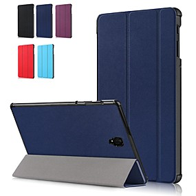 cheap Samsung Case-Case For Samsung Galaxy Tab A2 10.5(2018) T595 T590 / Tab A 8.0(2018) T387 / Samsung Tab A 10.1(2019)T510 Shockproof / Flip / Origami Full Body Cases Solid Colored Hard PU Leather