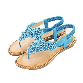 preiswerte Sandalen mit flachen Absätzen-Damen PU Sommer Süß Sandalen Flacher Absatz Offene Spitze Perle Blau / Rosa / Mandelfarben