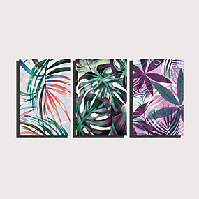 preiswerte Wand- & Ölbilder-Druck Gerollte Leinwand Aufgespannte Leinwandrucke - Botanisch Blumenmuster / Botanisch Modern Drei Paneele Kunstdrucke