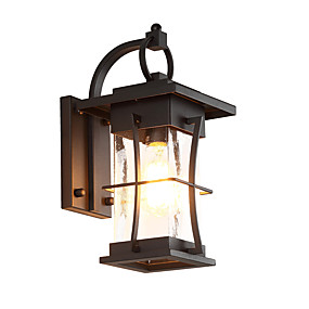 cheap Outdoor Lighting-QINGMING® Waterproof Mini Style Retro Country Flush Mount wall Lights Outdoor Wall Lights Outdoor Lights Garden Metal Wall Light IP65 110-120V 220-240V 60 W