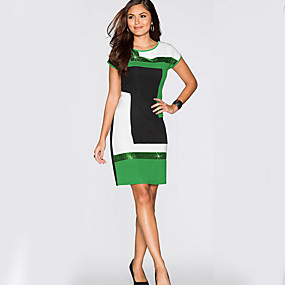 preiswerte Damen Kleider-Damen Grundlegend Schlank Hülle Kleid - Patchwork, Einfarbig Knielang