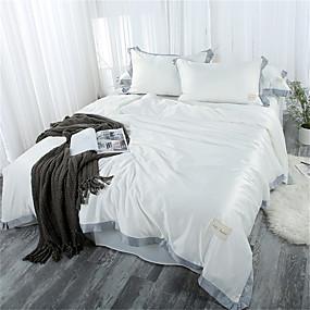 preiswerte Chinesische rote Bettbezüge-Bettbezug-Sets Solide / Zeitgenössisch Polyester Plissiert 4 StückBedding Sets