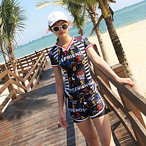cheap Surfing, Swimming & Diving-Women's Rashguard Swimsuit Nylon Spandex Swimwear UV Sun Protection Quick Dry Stretchy Short Sleeve 2 Piece - Swimming Surfing Snorkeling Painting Summer