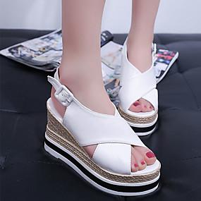 preiswerte Sandalen mit Keilabsatz-Damen Sandalen Keilabsatz Peep Toe PU Minimalismus Frühling Schwarz / Weiß