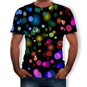 preiswerte Herrenmode-Herrn 3D T-shirt, Rundhalsausschnitt Druck Schwarz / Kurzarm
