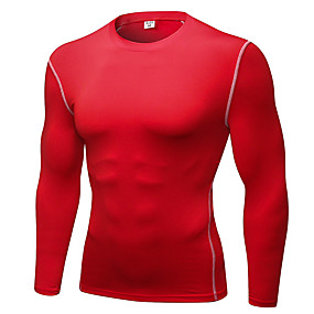 cheap Men's Activewear-YUERLIAN Men's Long Sleeve Compression Shirt Running Base Layer Tee Tshirt Base Layer Base Layer Top Athletic Ultra Light (UL) Quick Dry Breathable Fitness Gym Workout Running Exercise Sportswear