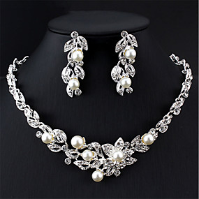 cheap Prom-Women's White Bridal Jewelry Sets Classic Flower Classic Elegant Bridal Imitation Pearl Earrings Jewelry Silver For Wedding Party Engagement Gift 1 set