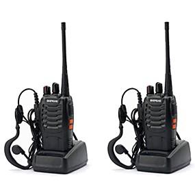 preiswerte Schutz & Sicherheit-2 stücke baofeng bf-888s wiederaufladbare langstrecken 5 watt funk walkie talkies 16 kanal handfunkgerät gebaut in led taschenlampe + headset handheld tragbare uhf400-470 mhz