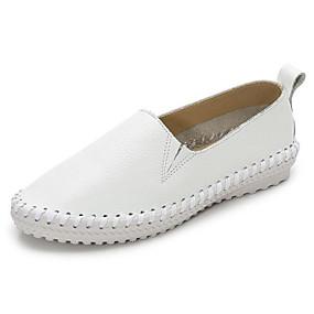 voordelige Damesinstappers & loafers-Dames Nappaleer Lente Loafers & Slip-Ons Platte hak Wit