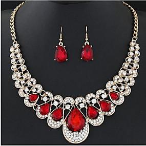 povoljno Nakit za vjenčanje i izlaske-Žene Svadbeni nakit Setovi Ispustiti slatko Elegantno Naušnice Jewelry Crn / Crvena / Plava Za Vjenčanje Party 1set