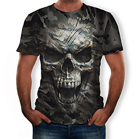 cheap Happy Halloween-Men's T-shirt 3D Graphic Skull Print Tops Round Neck Army Green / Camo / Camouflage
