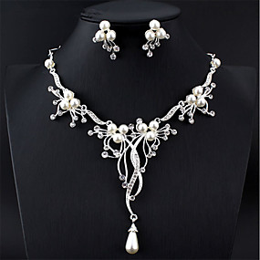 cheap Prom-Women's White Bridal Jewelry Sets Y Necklace Long Pear Luxury Fashion Elegant Bridal Imitation Pearl Earrings Jewelry Silver For Wedding Party Engagement Festival 1 set