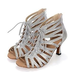 preiswerte Up to 70% off for women's shoes-Damen Tanzschuhe Kunststoff Schuhe für den lateinamerikanischen Tanz Farbaufsatz Absätze Keilabsatz Maßfertigung Schwarz / Silber / Rot / Leistung / Leder