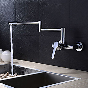 cheap Kitchen-Kitchen faucet - Two Holes Chrome Pot Filler Wall Mounted Contemporary Kitchen Taps / Brass / Single Handle Two Holes
