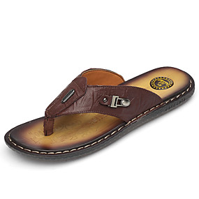 cheap Fashion Slippers-Men's Leather Shoes Nappa Leather Summer Classic / Casual Slippers & Flip-Flops Breathable Black / Burgundy