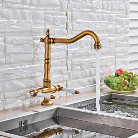 preiswerte Die Wahl des Herausgebers-Armatur für die Küche - Zwei Griffe Ein Loch Antikes Messing Hoch / High-Arc deckenmontiert Antike Kitchen Taps