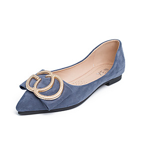 voordelige Damesschoenen met platte hak-Dames Microvezel Lente zomer Informeel Platte schoenen Wandelen Platte hak Gepuntte Teen Gesp Zwart / Blauw / Amandel