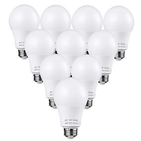 billige Globepærer med LED-zdm 10pcs 5w led pærer 45 watt ekvivalent 3000k / 6000k dagslys hvit ingen flimmer e26 / e27 medium skrue base pærer 450lumens ikke dimbar ac110v / ac220v