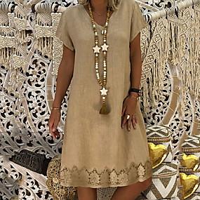 preiswerte Damen Kleider-Damen Hülle Kleid Knielang V-Ausschnitt