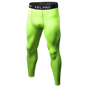 cheap Men's Activewear-21Grams Men's Compression Pants Running Tights Gym Leggings Grey Black / Green White+Gray Sports Spandex Compression Clothing Tights Leggings Fitness Gym Workout Exercise Plus Size Activewear Quick