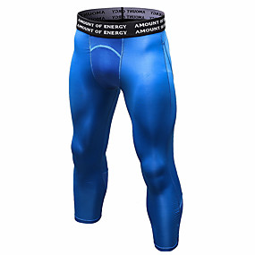 cheap Yoga & Fitness-YUERLIAN Men's High Waist Running Tights Leggings Compression Pants Cropped Leggings Thermal Warm Breathable Moisture Wicking White Black Blue Fitness Gym Workout Running Sports Activewear High