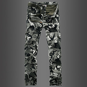 cheap Camping, Hiking & Backpacking-Men's Hiking Pants Hiking Cargo Pants Camo Winter Outdoor Breathable Quick Dry Sweat-wicking Multi-Pocket Cotton Pants / Trousers Bottoms Climbing Camping / Hiking / Caving Black Camouflage Grey 27