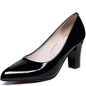 cheap Women's Pumps-Women's Heels Chunky Heel Patent Leather Spring Black / Almond / Red / Daily