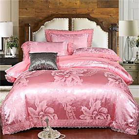 preiswerte Textilien für Zuhause-Bettbezug-Sets Luxus / Solide Polyester Jacquard 4 StückBedding Sets / 4-teilig (1 Bettbezug, 1 Bettlaken, 2 Kissenbezüge)