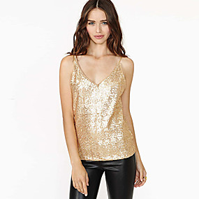 cheap Women's Tops-Women's Camisole Solid Colored Sequins V Neck Tops Sexy Basic Top Blushing Pink Gold