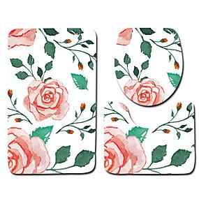 levne Podložky a koberečky-1 sada Klasické Koupelnové podložky 100g / m2 polyesterový elastický úplet Květiny Neskluzový