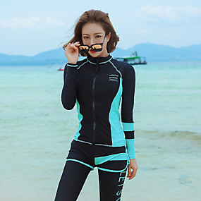 cheap Surfing, Swimming & Diving-Women's Rash Guard Dive Skin Suit Elastane Diving Suit UV Sun Protection Quick Dry High Elasticity Full Body Front Zip 5-Piece - Swimming Diving Surfing Snorkeling Patchwork Summer