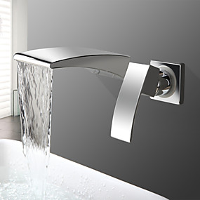 cheap Wall Mount-Bathroom Sink Faucet - Waterfall Chrome Wall Mounted Two Holes / Single Handle Two HolesBath Taps