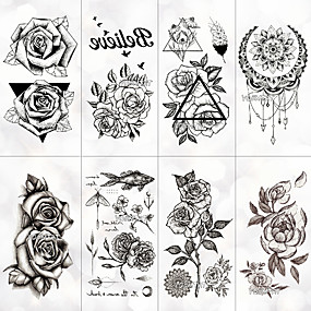 cheap Tattoo Stickers-8 pcs Temporary Tattoos Water Resistant / Best Quality Face / Hand / brachium Tattoo Stickers