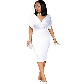 preiswerte Damenbekleidung-Damen Schlank Hülle Kleid - Perlenbesetzt, Solide Knielang Tiefes V