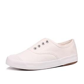 voordelige Damessneakers-Dames Canvas Zomer minimalisme Sneakers Wandelen Platte hak Ronde Teen Wit / Zwart / Grijs