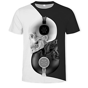 cheap Happy Halloween-Men's Daily T-shirt 3D Graphic Skull Print Short Sleeve Tops Streetwear Exaggerated Round Neck Black / Summer