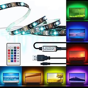 povoljno Svjetlosne trake i žice-BRELONG® 3M RGB svjetleće trake 90 LED diode 5050 SMD 10mm 1 24Ključuje daljinski upravljač 1pc RGB Vodootporno Cuttable USB 5 V / Samoljepljiva