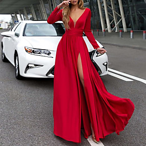 cheap Red Dresses-Women's Basic Sheath Dress - Solid Colored White Red M L XL
